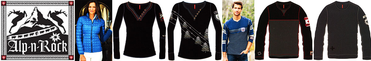 Alp-N-Rock ski wear & sweaters available at Swiss Sports Haus 604-922-9107.