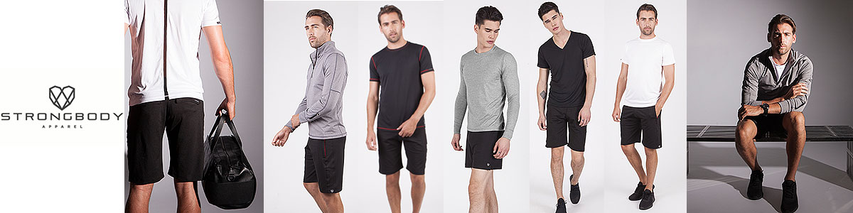 Strongbody technical & workout wear for men available at Swiss Sports Haus 604-922-9107.