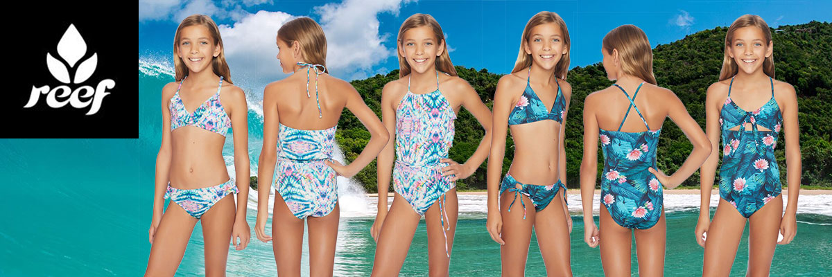 Reef Girl's Swimwear available at Swiss Sports Haus 604-922-9107.