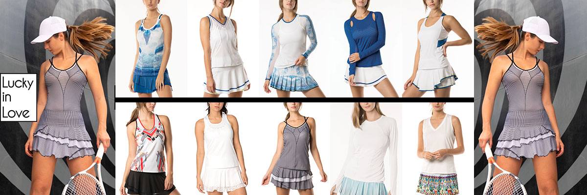 Lucky In Love Women's Tennis Wear available at Swiss Sports Haus 604-922-9107.