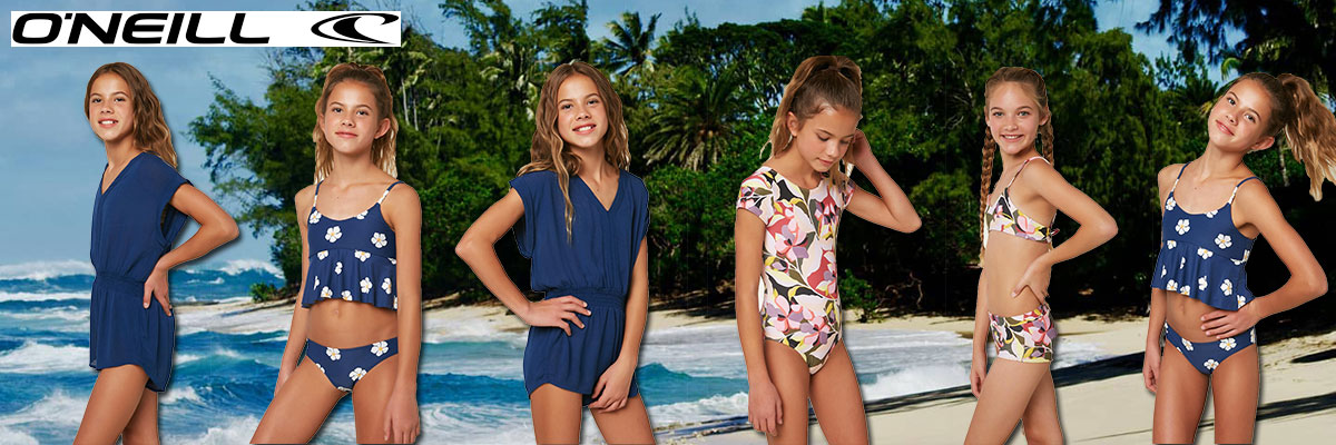 O'Neil girls summer swimwear available at Swiss Sports Haus 604-922-9107.