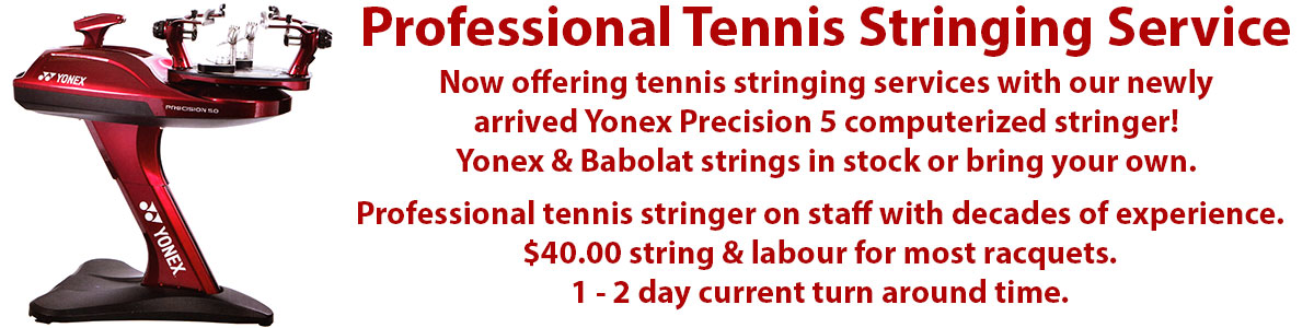 Professional tennis stringing services at Swiss Sports Haus 604-922-9107.