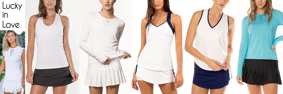 Lucky In Love women's tennis wear & whites available at Swiss Sports Haus 604-922-9107.