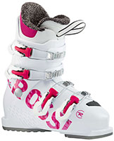 2021 Rossignol Fun Girl J4 four buckle junior ski boots available at Swiss Sports Haus 604-922-9107.