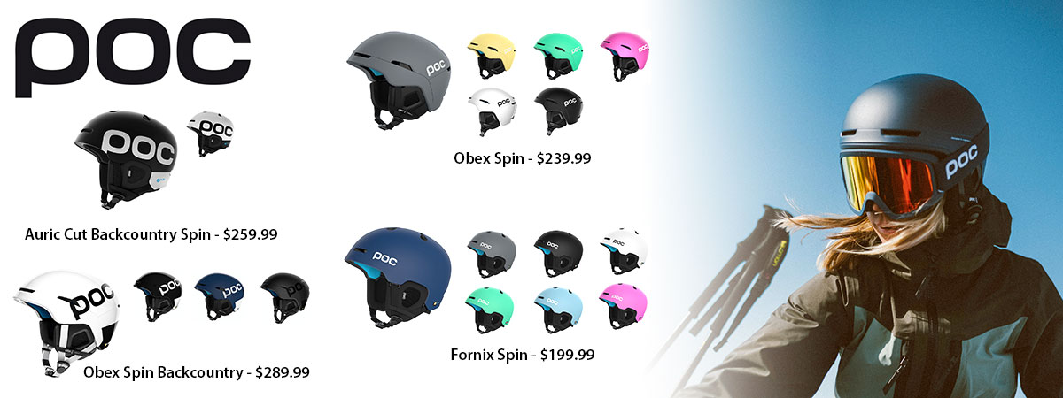 POC Auric Cut Backcountry Spin, Obex Spin Backcountry, Obex Spin and Fornix Spin Mens & Womens ski helmets available at Swiss Sports Haus 604-922-9107.