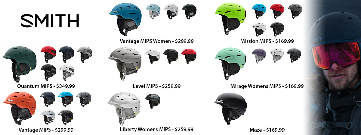 Smith Optics Mens & Womens Quantum, Vantage, Liberty, Level, Mirage, Mission, and Maz MIPS & asian fit ski helmets available at Swiss Sports Haus 604-922-9107.