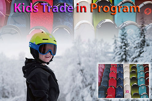 Kids & junior skis, boots and bindings trade back program at Swiss Sports Haus 604-922-9107.