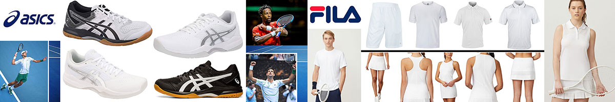 Asics & Fila Tennis Wear available at Swiss Sports Haus 604-922-9107.