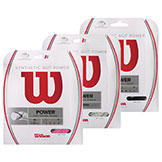 Wilson Synthetic Gut Power - 16 Tennis String in lime, pink, white, black & blue available at Swiss Sports Haus 604-922-9107.
