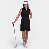 EP New York EPNY Short Sleeve Dress With Mesh Pleat Hem Detail available at Swiss Sports Haus 604-922-9107.