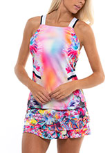 Lucky In Love Techno Tropic Tank available at Swiss Sports Haus 604-922-9107.