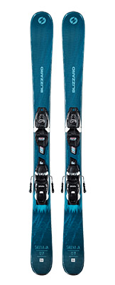 2022 Blizzard Sheeva Twin Junior Twin Tip Skis & Bindings available at Swiss Sports Haus 604-922-9107.