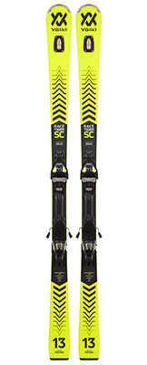 2022 Volkl Racetiger SC Yellow Skis & Bindings available at Swiss Sports Haus 604-922-9107.
