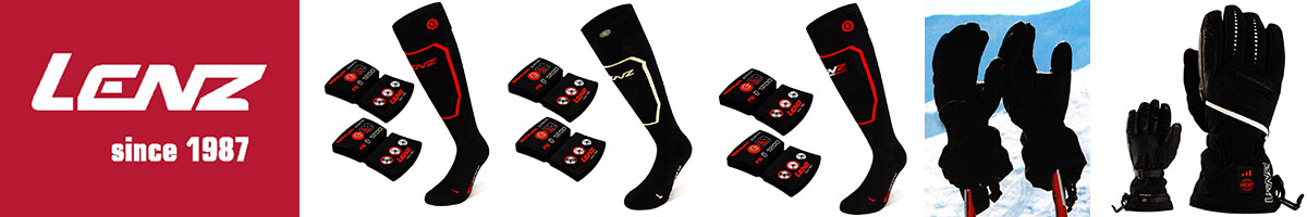 Lenz electrically heated ski socks, gloves & vests available at Swiss Sports Haus 604-922-9107.