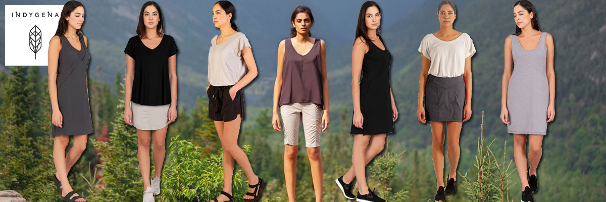 Indygena summer athleisure wear for women available at Swiss Sports Haus 604-922-9107.