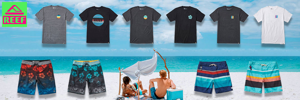 Reef men's swim wear, board shorts and t-shirts available at Swiss Sports Haus 604-922-9107.