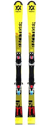 2020 Volkl Racetiger SL R Junior Plate skis & bindings on sale at Swiss Sports Haus 604-922-9107.