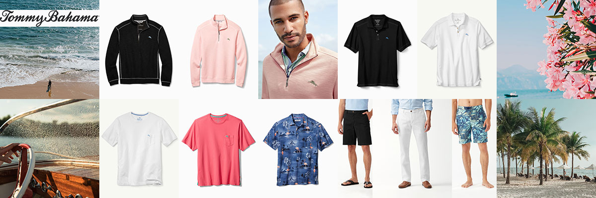Tommy Bahama golf, athleisure and swim wear for men available at Swiss Sports Haus 604-922-9107.