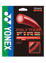Yonex Polytour Fire 130 tennis string available at Swiss Sports Haus 604-922-9107.