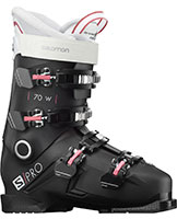 2021 Salomon S/Pro 70 flex W womens ski boots available with free custom boot fitting & fit guarantee at Swiss Spors Haus 604-922-9107.