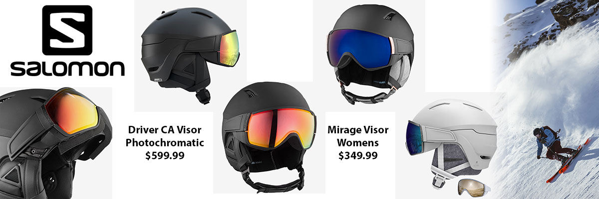 Salomon Mens Driver CA Photochromatic & Womens Mirage Visor Ski Helmets available at Swiss Sports Haus 604-922-9107.