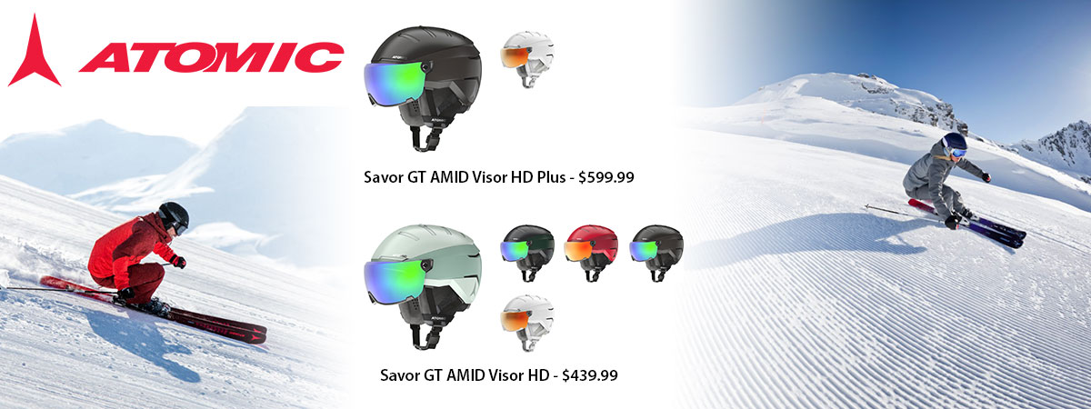 Atomic Savor GT AMID Visor HD + Plus Ski Helmets available at Swiss Sports Haus 604-922-9107.