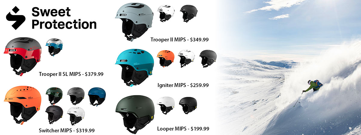 Sweet Protection Trooper II, Switcher, Igniter and Looper MIPS ski helmets available at Swiss Sports Haus 604-922-9107.